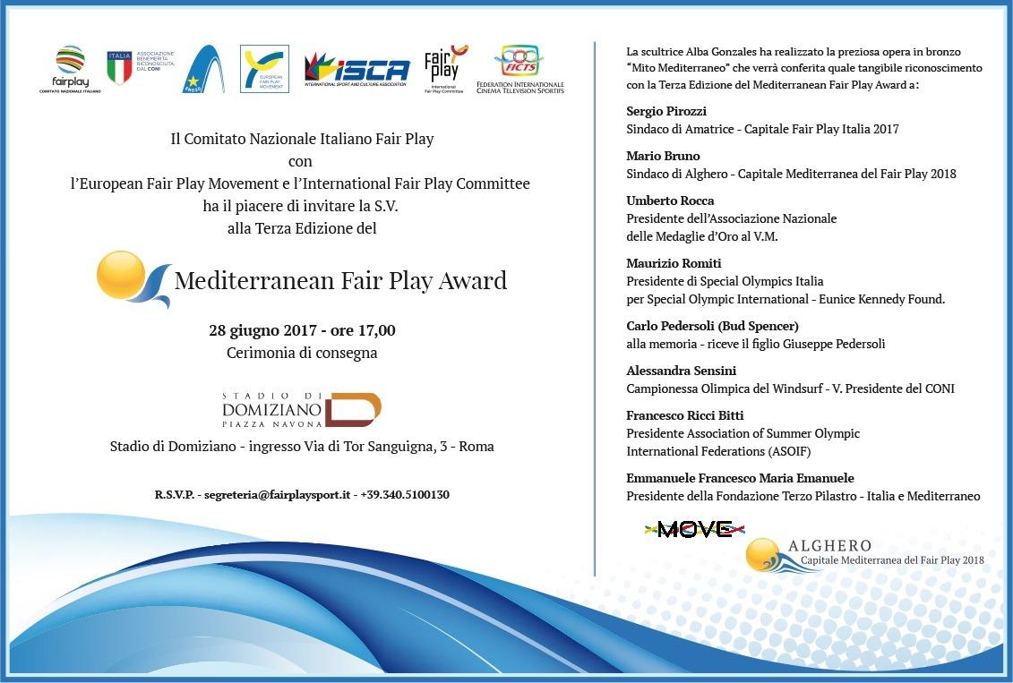 Mediterranean Fair Play Award 28/06/2017